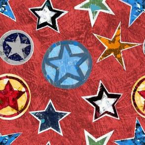 Super Stars on Red Superhero