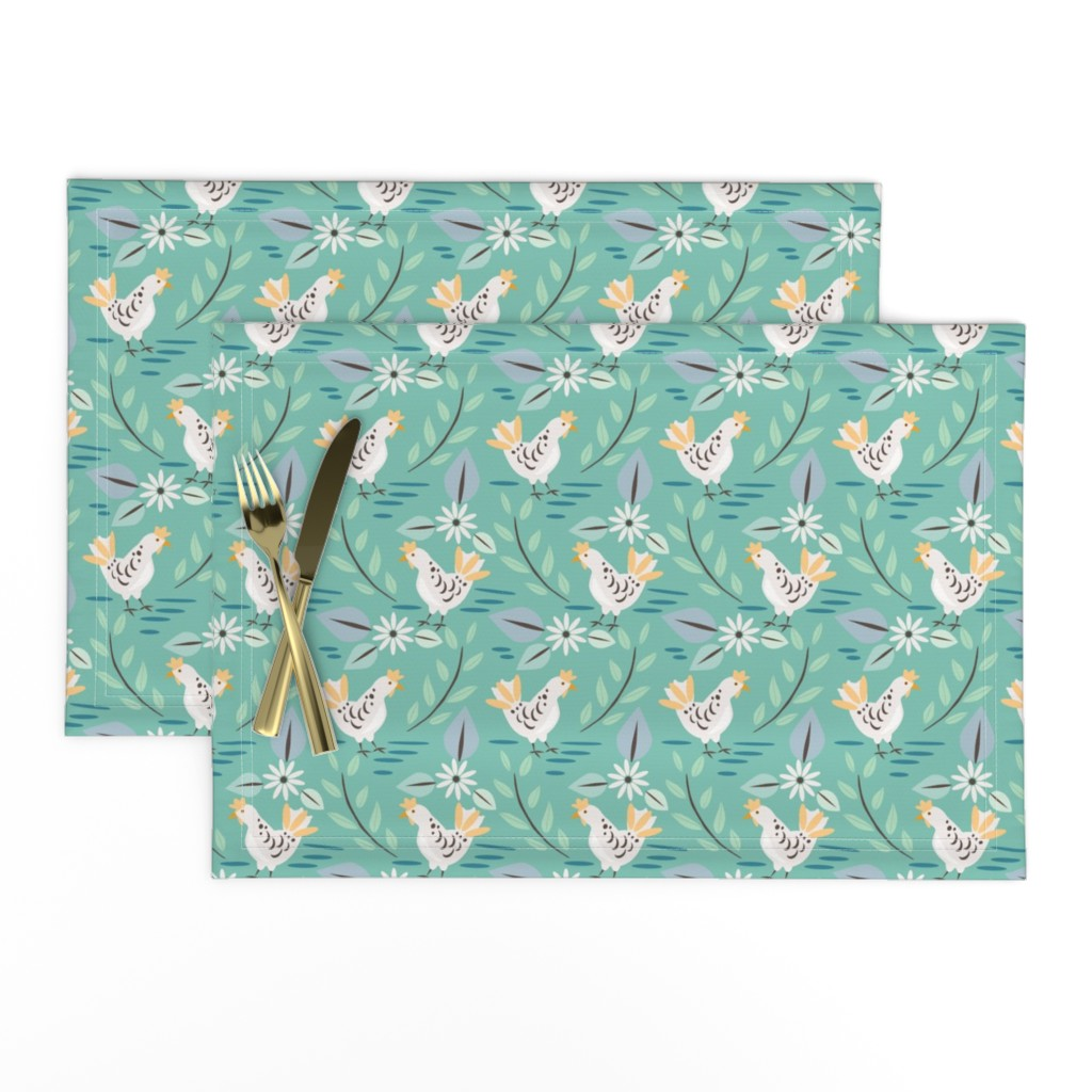 Lamona Cloth Placemats featuring Layla's Chickens, Teal by katie_hayes