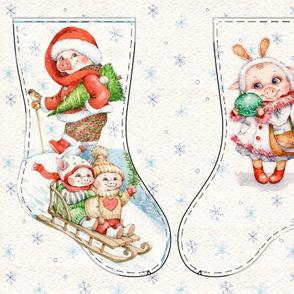 Cute Piglets Christmas stocking