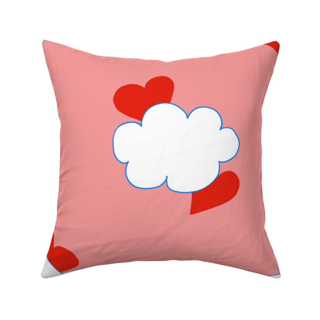 Catalan Throw Pillow featuring Cloud Hearts Pink Sky by paper_and_frill