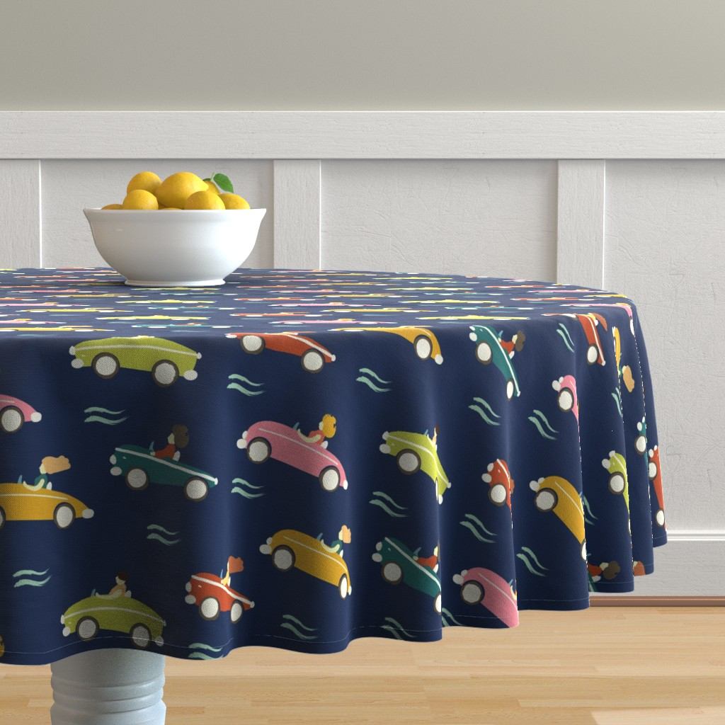 Malay Round Tablecloth featuring cars by exotic_vector