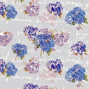 French Hydrangeas on Gray with white French script-ch