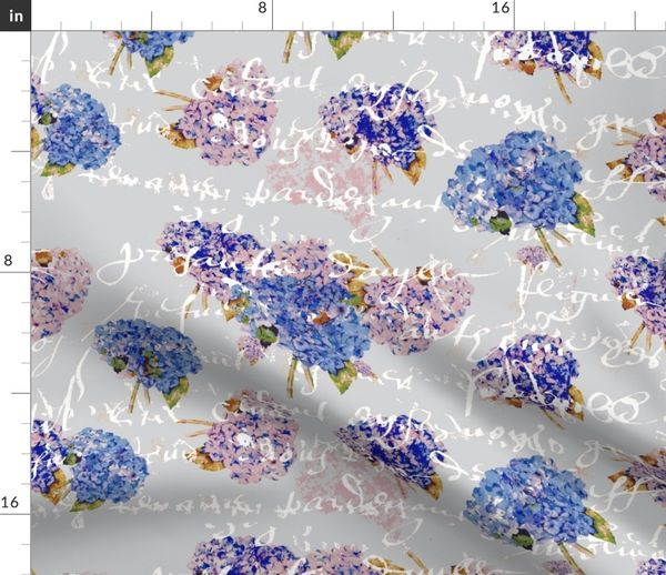 French Hydrangeas on Gray with white French script Fabric by the yard