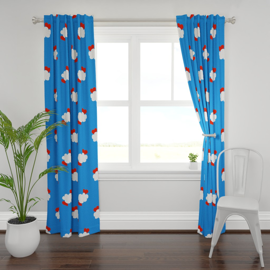Plymouth Curtain Panel featuring Cloud Hearts Blue Sky by paper_and_frill
