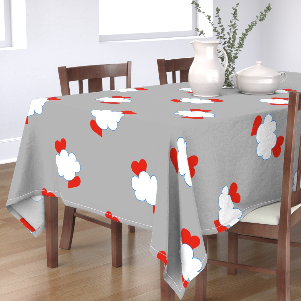 Bantam Rectangular Tablecloth featuring Cloud Heart Cloudy Grey Sky by paper_and_frill