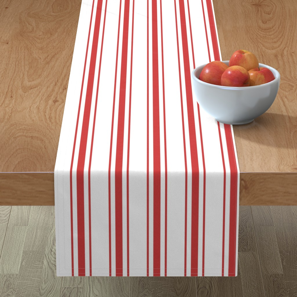 Minorca Table Runner featuring Mattress Ticking Wide Striped Pattern in Red and White by paper_and_frill