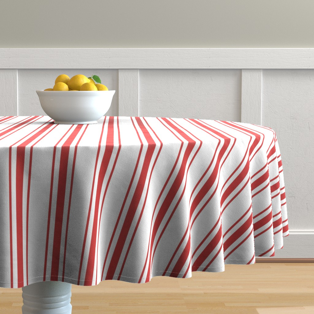 Malay Round Tablecloth featuring Mattress Ticking Wide Striped Pattern in Red and White by paper_and_frill