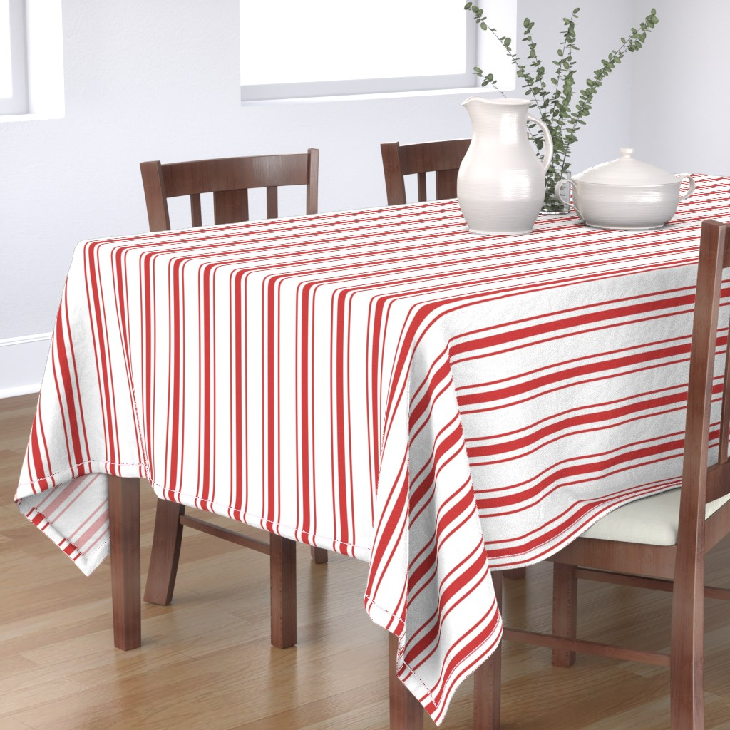 Bantam Rectangular Tablecloth featuring Mattress Ticking Wide Striped Pattern in Red and White by paper_and_frill