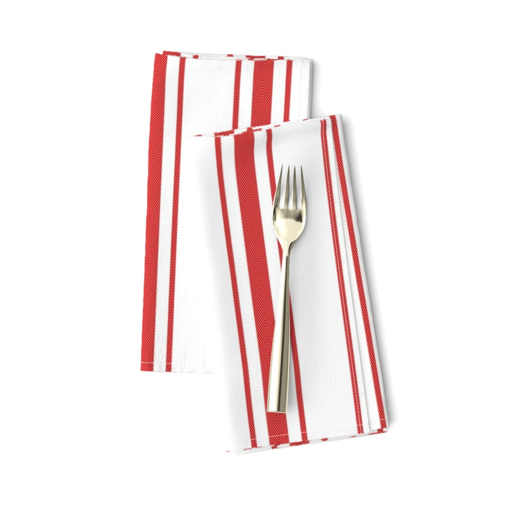 Amarela Dinner Napkins featuring Mattress Ticking Wide Striped Pattern in Red and White by paper_and_frill