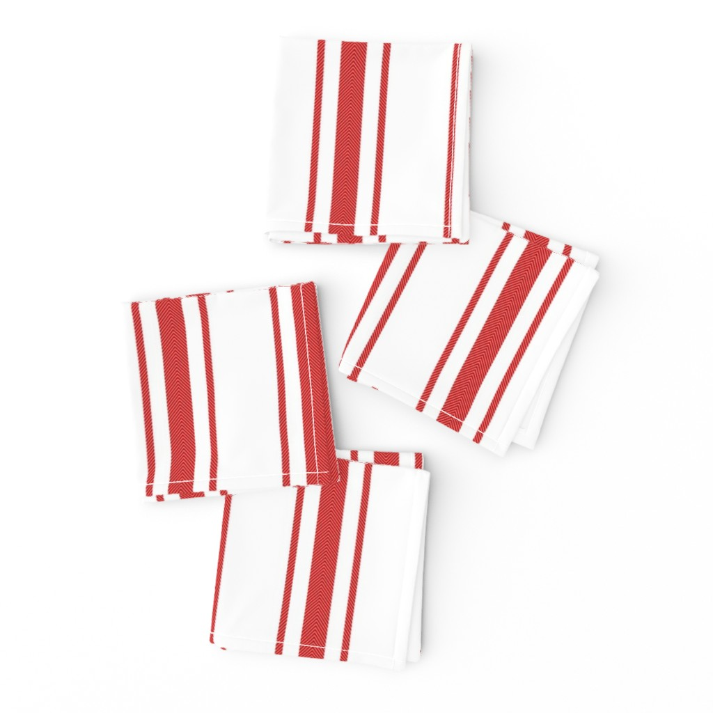 Frizzle Cocktail Napkins featuring Mattress Ticking Wide Striped Pattern in Red and White by paper_and_frill