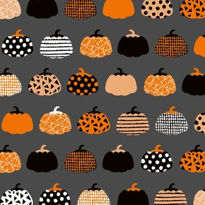 Fall fruit geometric pumpkin design scandinavian style halloween print black and charcoal gray orange