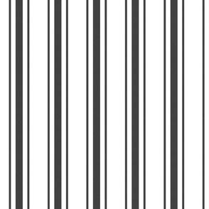 Mattress Ticking Wide Striped Pattern in Dark Black and White