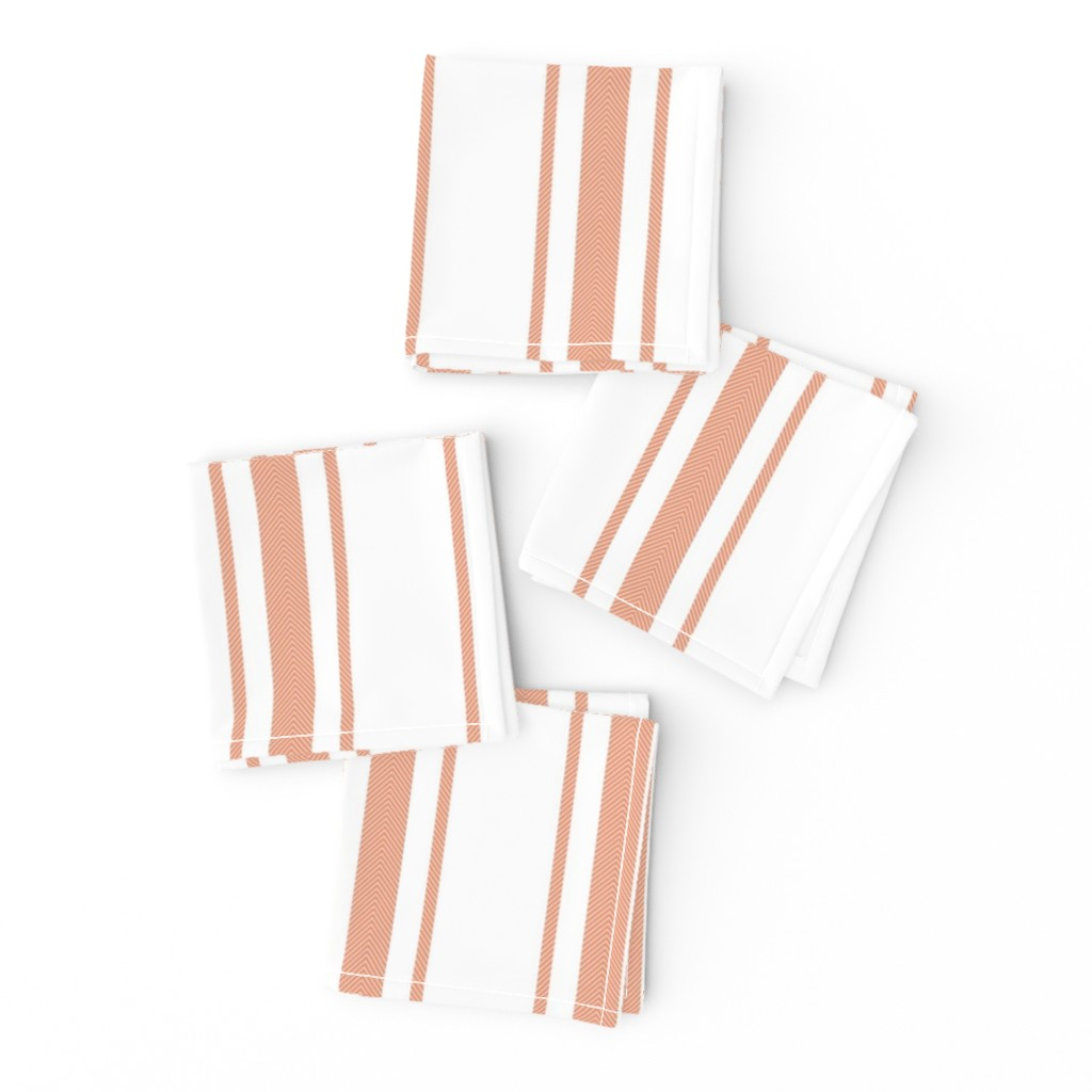 Frizzle Cocktail Napkins featuring Large Shell Coral Peach Orange Mattress Ticking Stripes by paper_and_frill