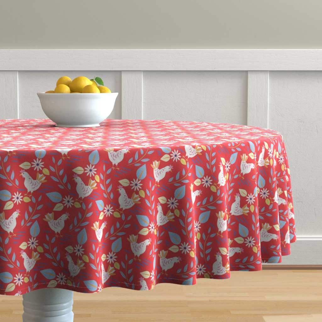 Malay Round Tablecloth featuring Layla's chickens, Red-Medium  by katie_hayes