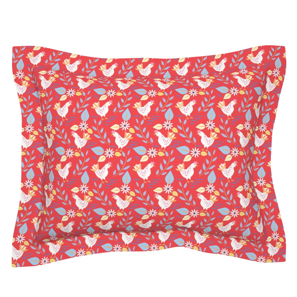 Sebright Pillow Sham featuring Layla's chickens, Red-Medium  by katie_hayes