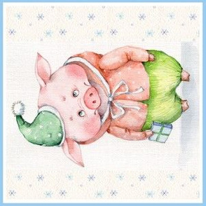 Christmas pigs a 6 in Quilting Block #5