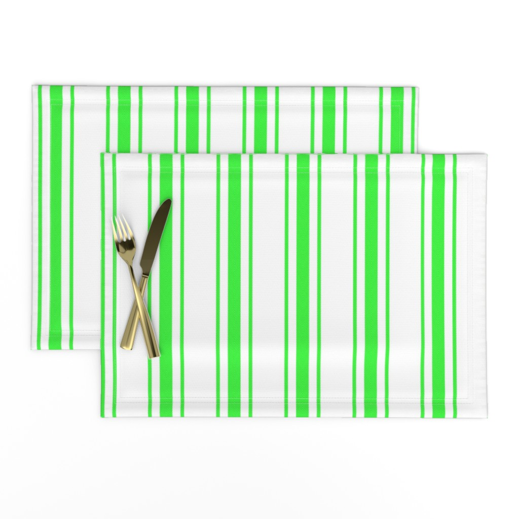Lamona Cloth Placemats featuring Mattress Ticking Wide Striped Pattern in Neon Green and White by paper_and_frill