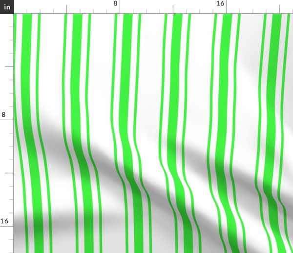 Fabric By The Yard Mattress Ticking Wide Striped Pattern In Neon Green And White