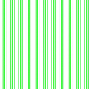 Mattress Ticking Narrow Striped Pattern in Neon Green and White