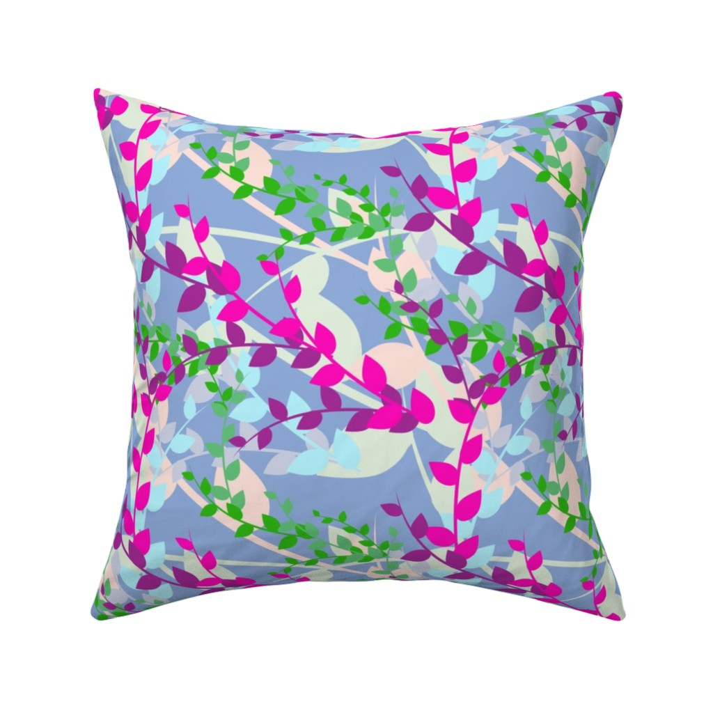 Catalan Throw Pillow featuring Abstract floral pattern with spring leaves in pink, blue and green colors by nadia_to_art