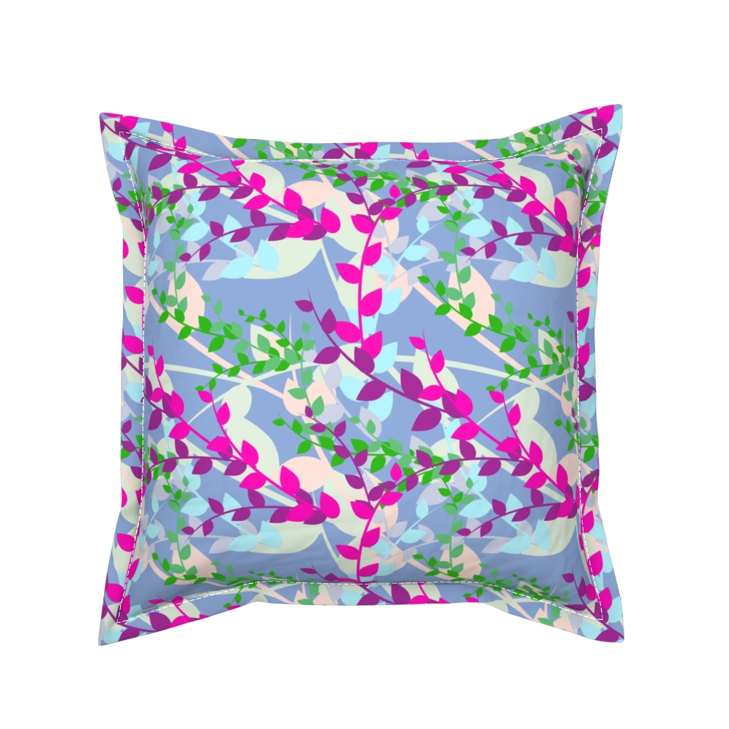 Serama Throw Pillow featuring Abstract floral pattern with spring leaves in pink, blue and green colors by nadia_to_art