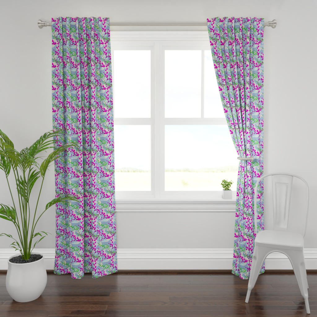 Plymouth Curtain Panel featuring Abstract floral pattern with spring leaves in pink, blue and green colors by nadia_to_art