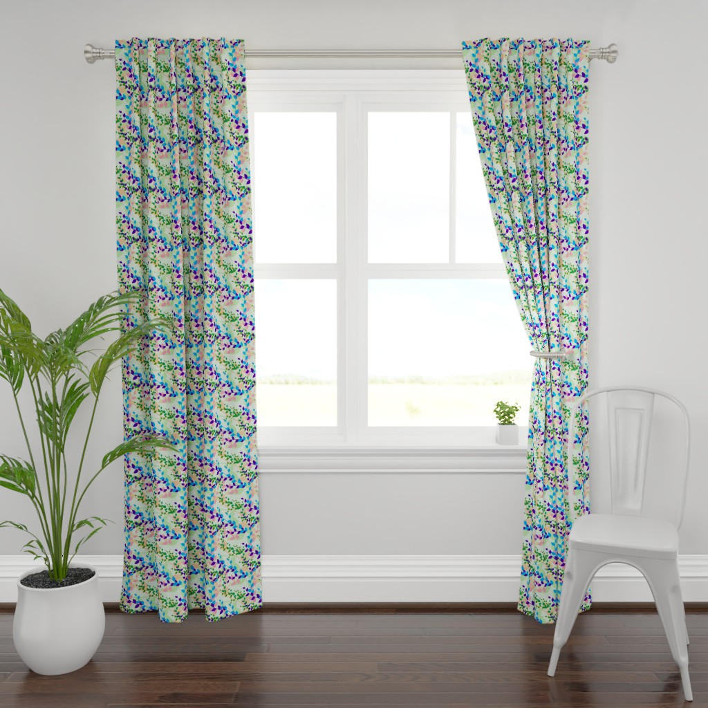 Plymouth Curtain Panel featuring Abstract floral pattern with spring leaves in blue and green colors by nadia_to_art