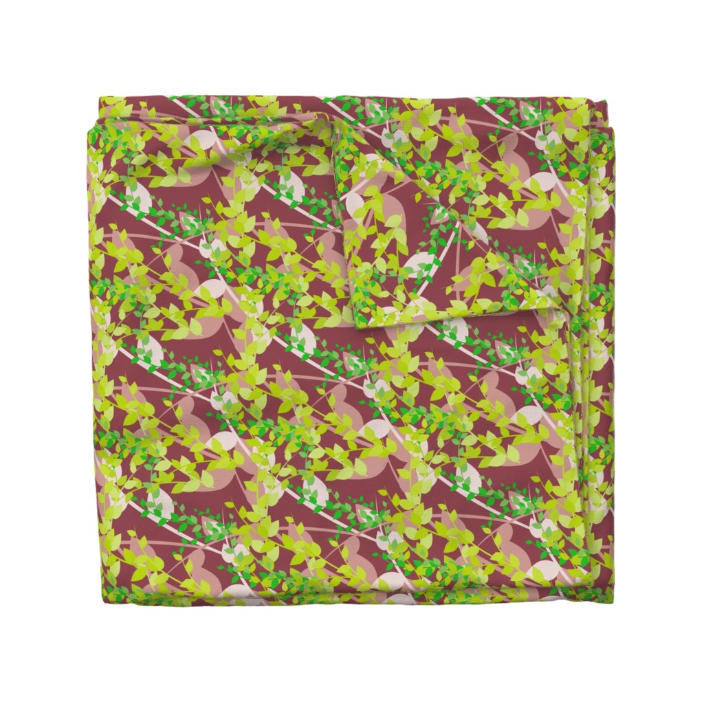 Wyandotte Duvet Cover featuring Abstract floral pattern with spring leaves in green and brown colors by nadia_to_art