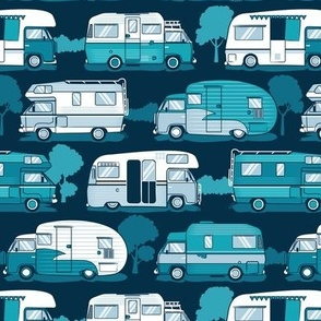 Small scale // Home sweet motor home // teal and pastel blue camper vans on navy blue background