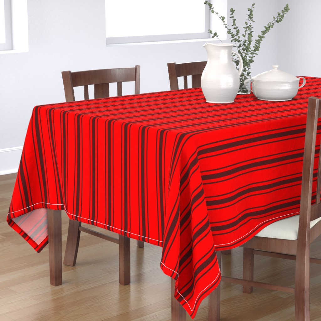 Bantam Rectangular Tablecloth featuring Mattress Ticking Wide Striped Pattern Jet Black on Red by paper_and_frill