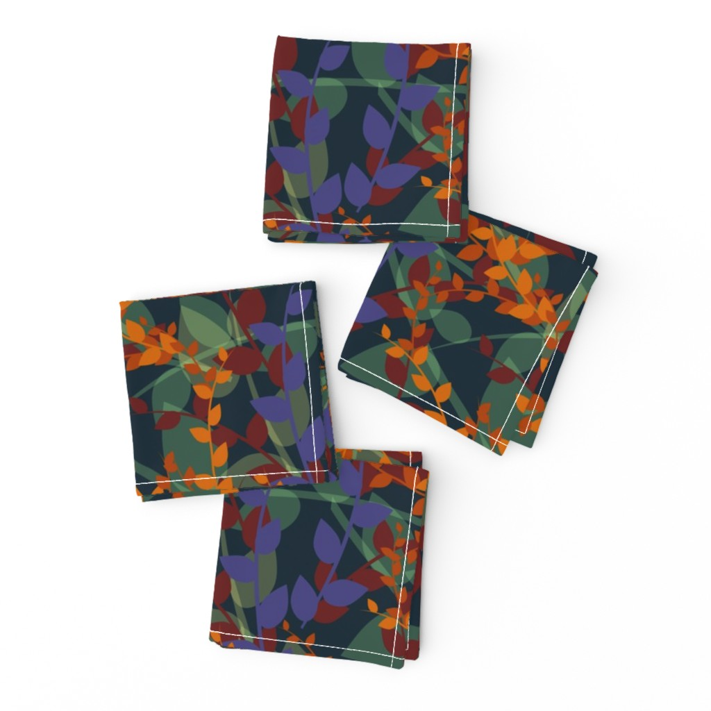Frizzle Cocktail Napkins featuring Abstract floral pattern with autumn leaves in orange and blue colors by nadia_to_art