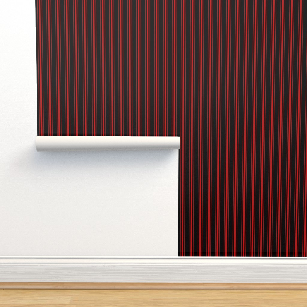 Isobar Durable Wallpaper featuring Mattress Ticking Wide Striped Pattern Jet Black on Red by paper_and_frill