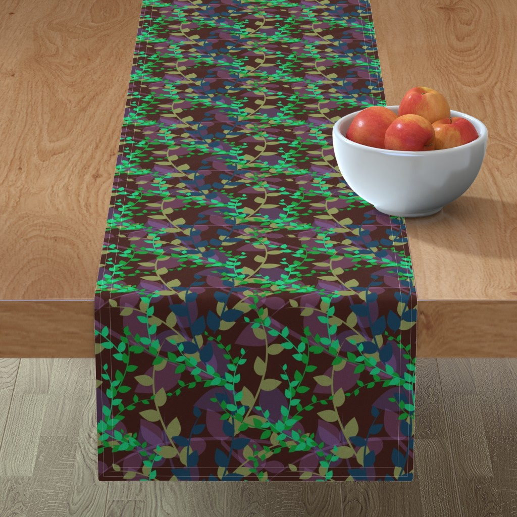 Minorca Table Runner featuring Abstract floral pattern with autumn leaves in green, blue and brown colors by nadia_to_art