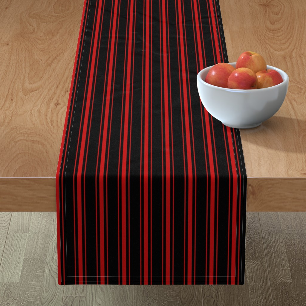 Minorca Table Runner featuring Mattress Ticking Small Striped Pattern Red on Black by paper_and_frill