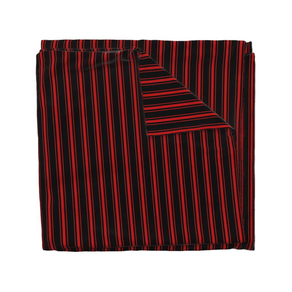 Wyandotte Duvet Cover featuring Mattress Ticking Small Striped Pattern Red on Black by paper_and_frill