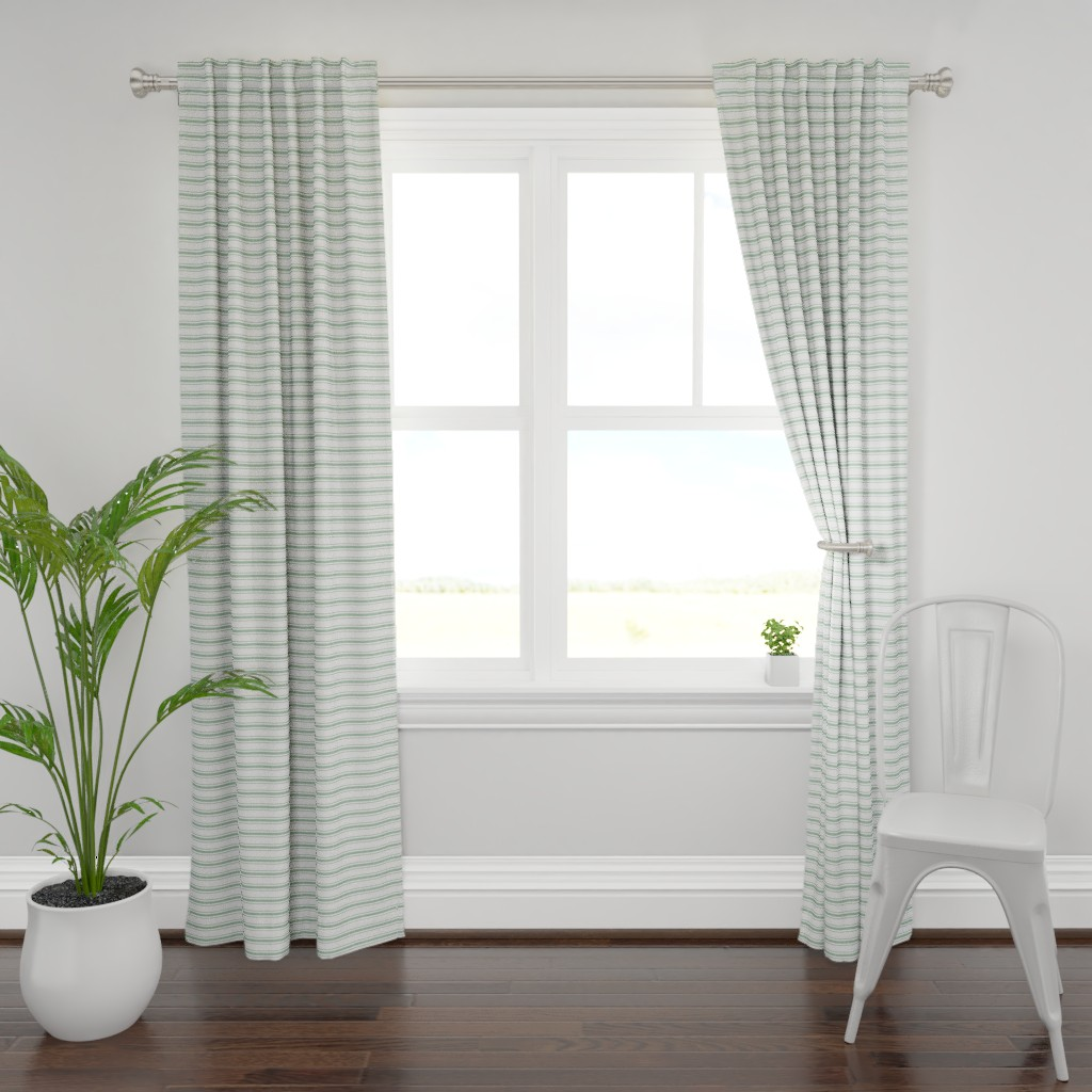 Plymouth Curtain Panel featuring Mattress Ticking Narrow Striped Pattern in Moss Green and White by paper_and_frill