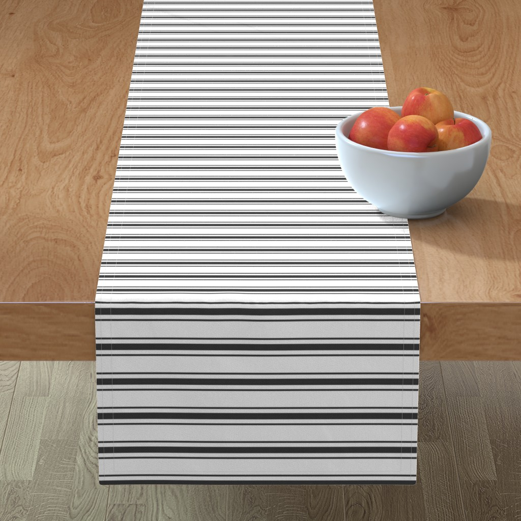 Minorca Table Runner featuring Mattress Ticking Narrow Striped Pattern in Dark Black and White by paper_and_frill