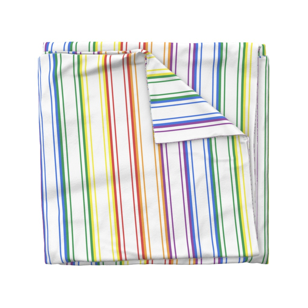 Wyandotte Duvet Cover featuring Split Rainbow Mattress Ticking Wide Stripes Pattern by paper_and_frill