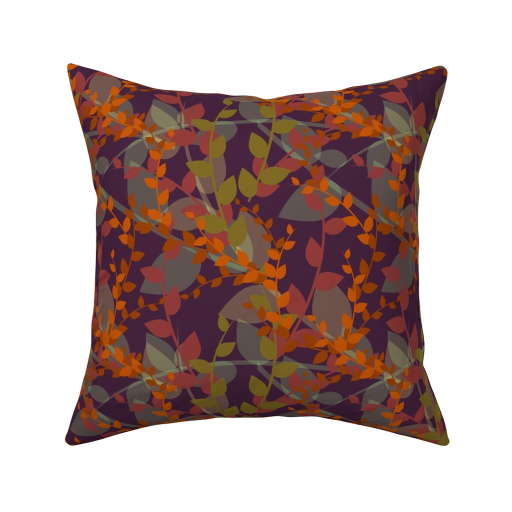 Catalan Throw Pillow featuring Abstract floral pattern with autumn leaves in orange and violet colors by nadia_to_art