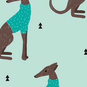 Sweet greyhound puppy dogs whippet sweater weather illustration minty blue boys jumbo