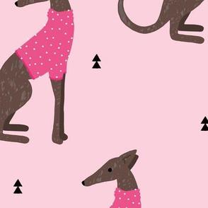 Sweet greyhound puppy dogs whippet sweater weather illustration pink girls jumbo
