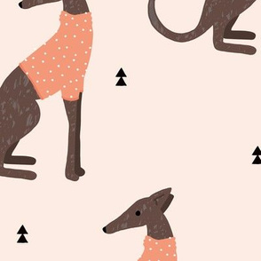 Sweet greyhound puppy dogs whippet sweater weather illustration minty peach apricot vintage orange jumbo