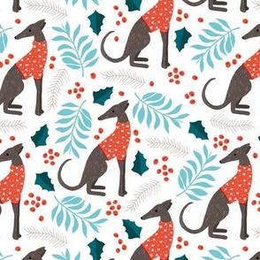 Sweet greyhound puppy dogs christmas winter whippet sweater weather illustration orange blue gender neutral