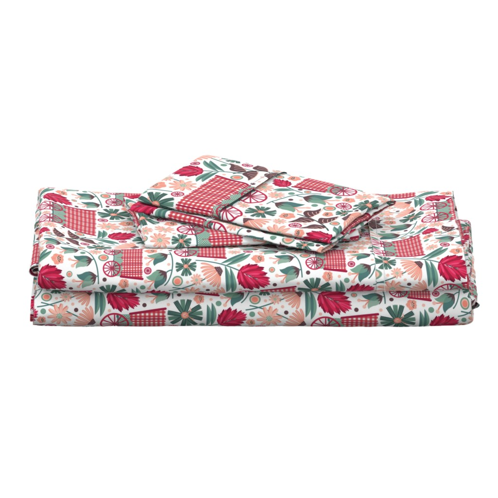 Langshan Full Bed Set featuring Wagons-and-Wildflowers by nanshizzle