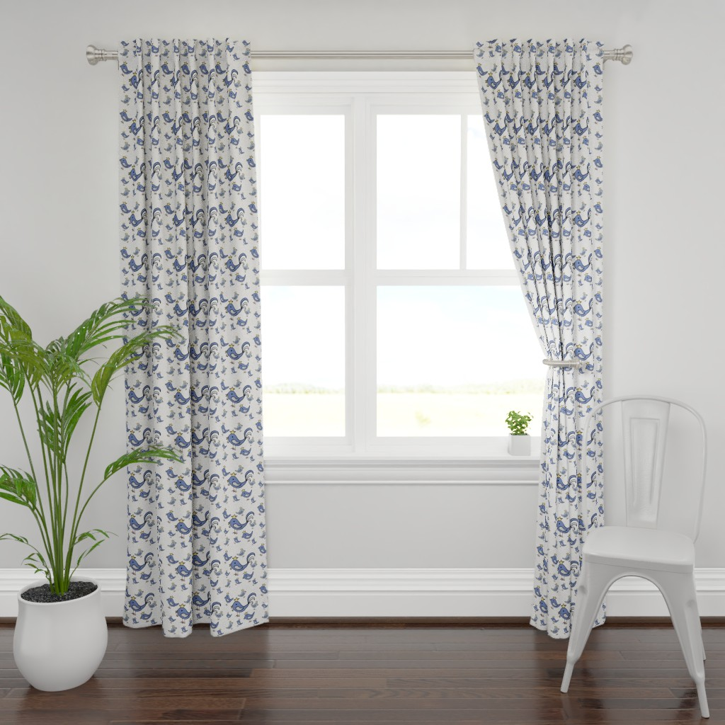 Plymouth Curtain Panel featuring Huehnerglueck_blue by grapheum