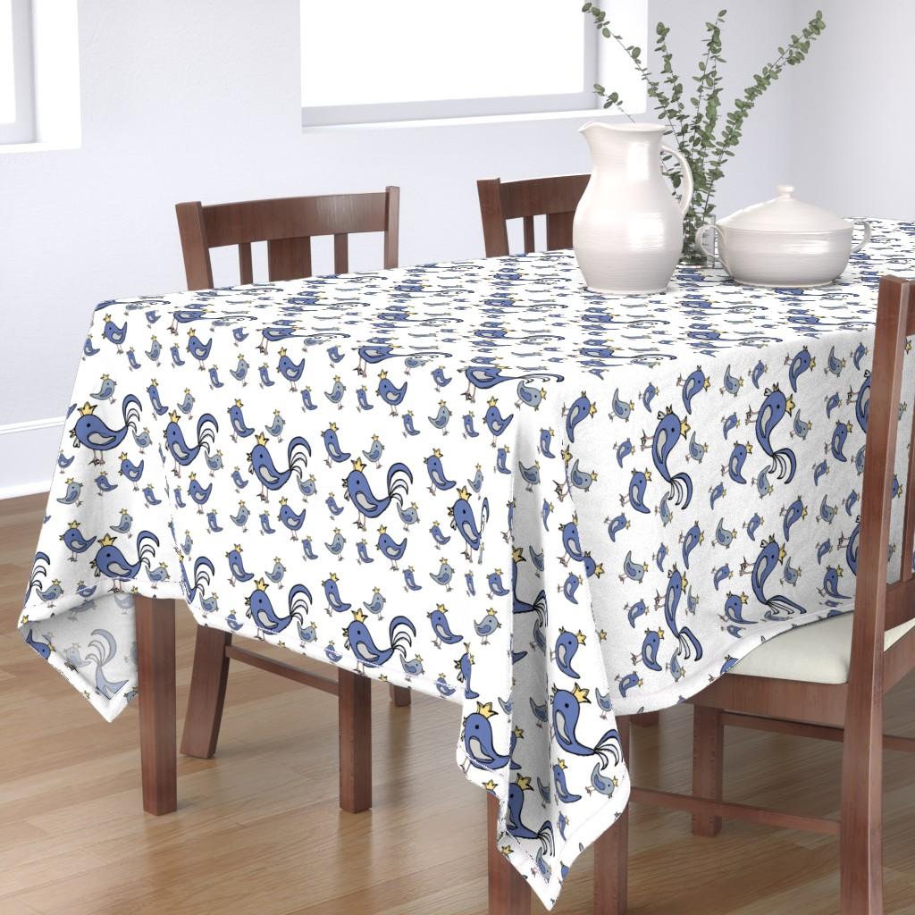 Bantam Rectangular Tablecloth featuring Huehnerglueck_blue by grapheum