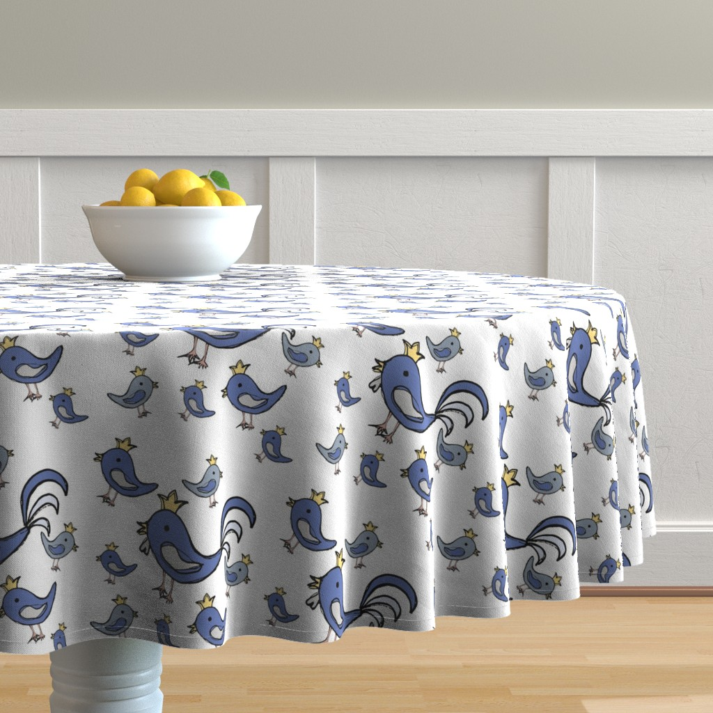 Malay Round Tablecloth featuring Huehnerglueck_blue by grapheum