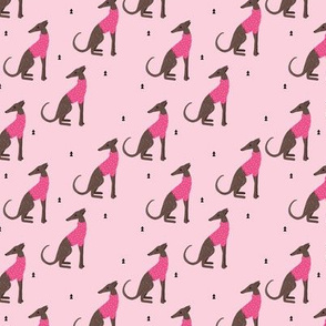 Sweet greyhound puppy dogs whippet sweater weather illustration pink girls Jumbo