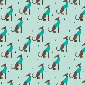 Sweet greyhound puppy dogs whippet sweater weather illustration minty blue boys