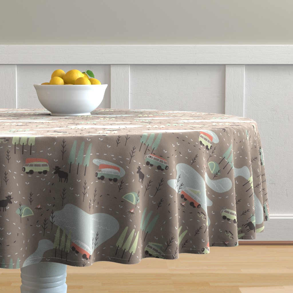 Malay Round Tablecloth featuring Into the Wild by papercanoefabricshop